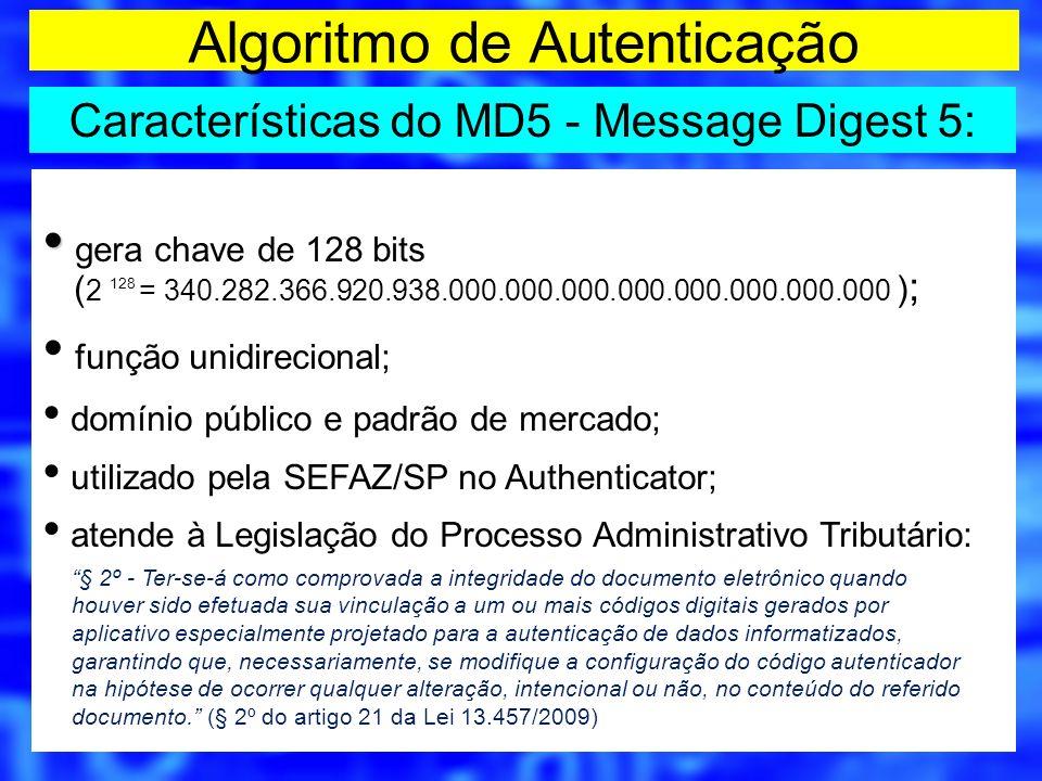 gera chave de 128 bits ( 2 128 = 340.282.366.920.938.000.000.000.000.000.000.000.000 ) ; função unidirecional; domínio público e padrão de mercado; ut