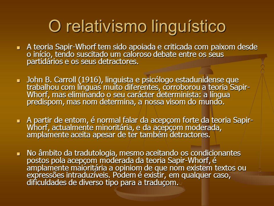 O relativismo linguístico A teoria Sapir-Whorf tem sido apoiada e criticada com paixom desde o início, tendo suscitado um caloroso debate entre os seus partidários e os seus detractores.