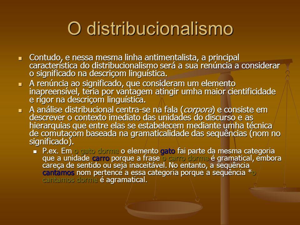 O distribucionalismo Contudo, e nessa mesma linha antimentalista, a principal característica do distribucionalismo será a sua renúncia a considerar o significado na descriçom linguística.