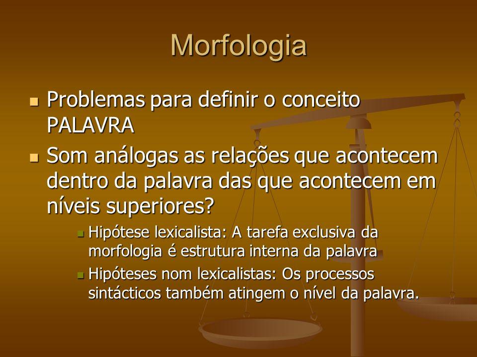 Morfologia Problemas para definir o conceito PALAVRA Problemas para definir o conceito PALAVRA Som análogas as relações que acontecem dentro da palavra das que acontecem em níveis superiores.