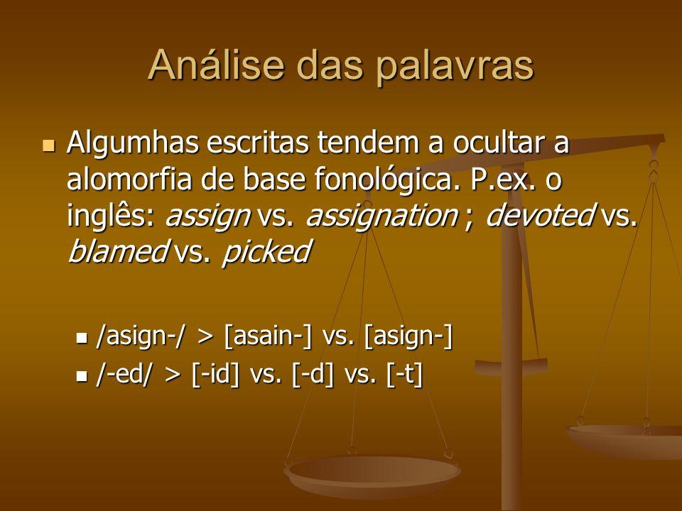 Análise das palavras Algumhas escritas tendem a ocultar a alomorfia de base fonológica.
