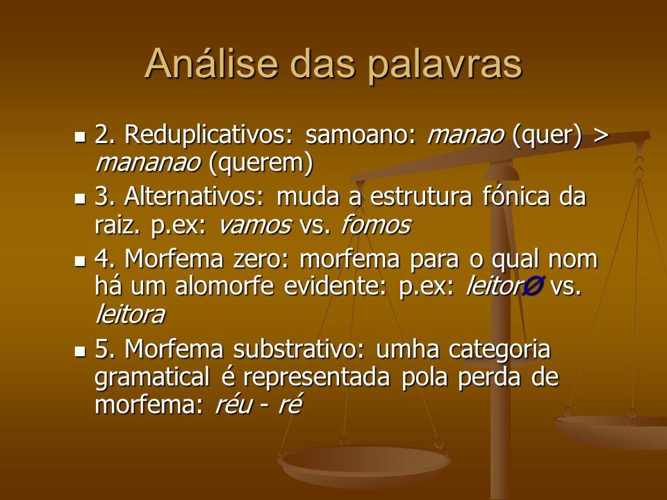 Análise das palavras 2.Reduplicativos: samoano: manao (quer) > mananao (querem) 2.