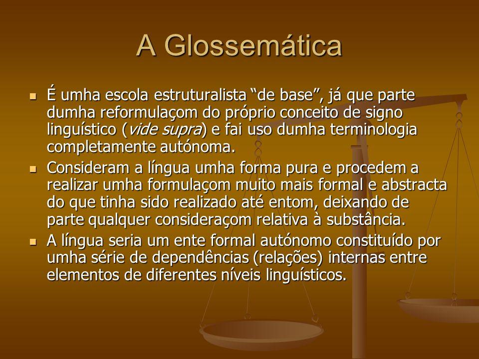 A Glossemática A sua análise linguística leva-os a diferenciar dous tipos de glossemas: cenemas (~ fonemas) e pleremas (~ morfemas).