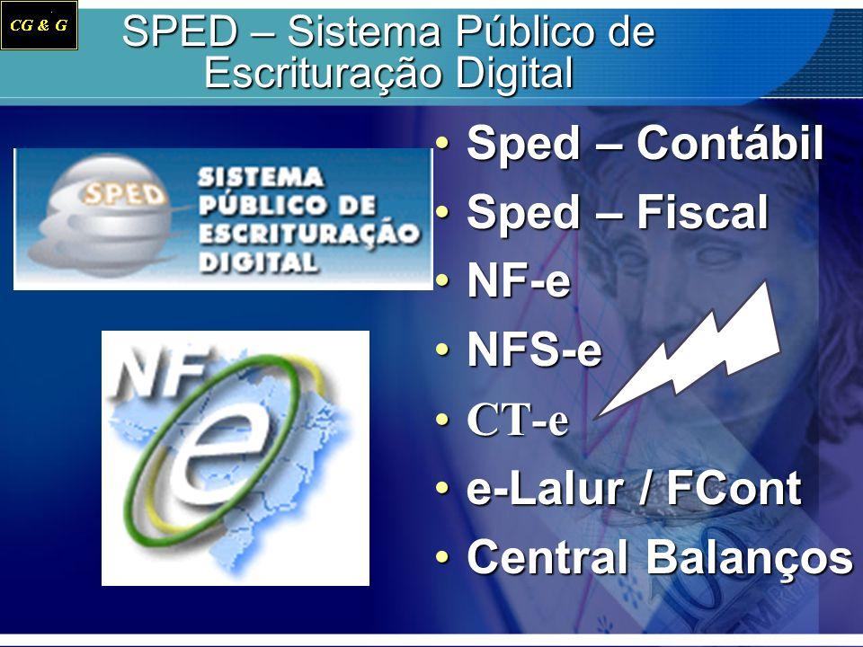 SPED – Sistema Público de Escrituração Digital Sped – Contábil Sped – Fiscal NF-e NFS-e CT-e e-Lalur / FCont Central Balanços