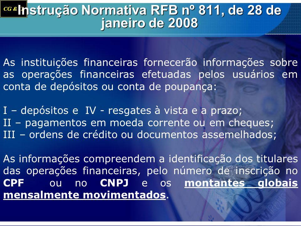 Instrução Normativa RFB nº 811, de 28 de janeiro de 2008 As instituições financeiras fornecerão informações sobre as operações financeiras efetuadas p