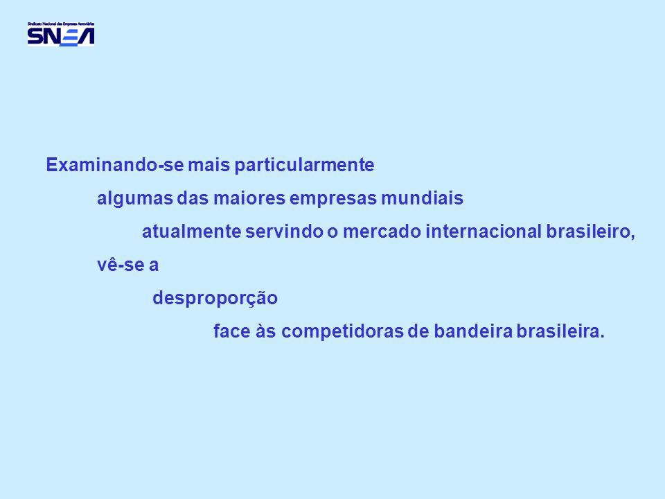 Examinando-se mais particularmente algumas das maiores empresas mundiais atualmente servindo o mercado internacional brasileiro, vê-se a desproporção face às competidoras de bandeira brasileira.