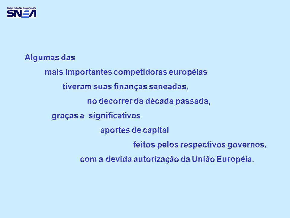 Algumas das mais importantes competidoras européias tiveram suas finanças saneadas, no decorrer da década passada, graças a significativos aportes de capital feitos pelos respectivos governos, com a devida autorização da União Européia.