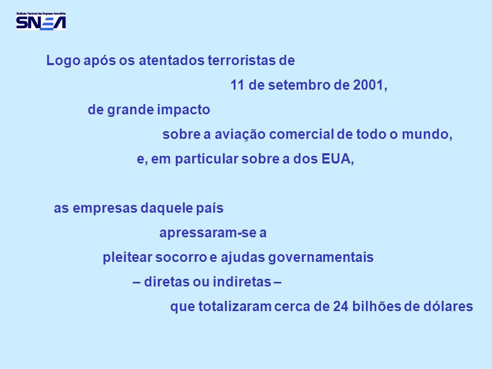 Logo após os atentados terroristas de 11 de setembro de 2001, de grande impacto sobre a aviação comercial de todo o mundo, e, em particular sobre a dos EUA, as empresas daquele país apressaram-se a pleitear socorro e ajudas governamentais – diretas ou indiretas – que totalizaram cerca de 24 bilhões de dólares