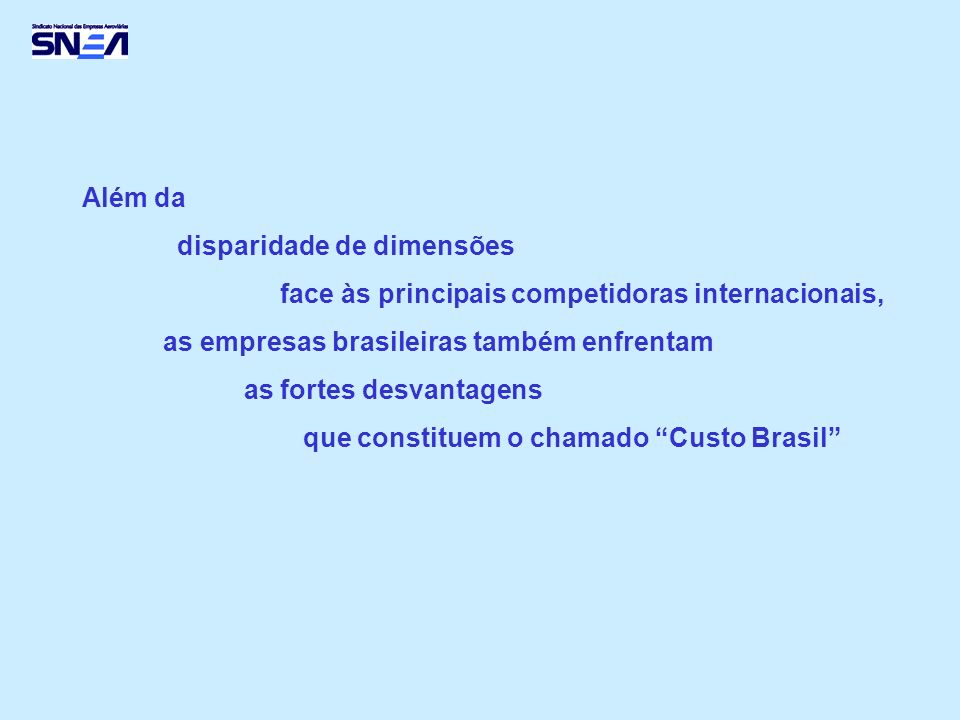 Além da disparidade de dimensões face às principais competidoras internacionais, as empresas brasileiras também enfrentam as fortes desvantagens que constituem o chamado Custo Brasil