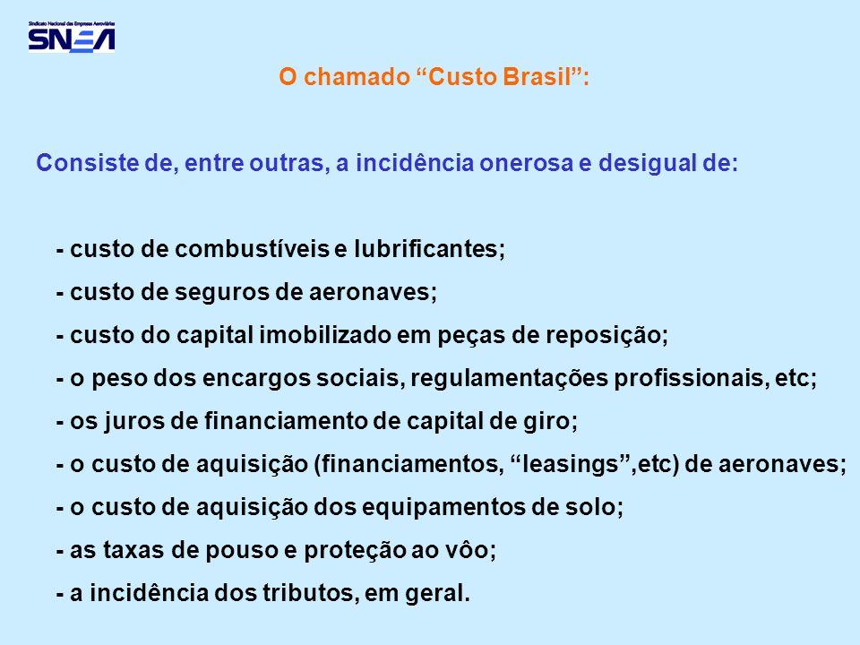 O chamado Custo Brasil: Consiste de, entre outras, a incidência onerosa e desigual de: - custo de combustíveis e lubrificantes; - custo de seguros de
