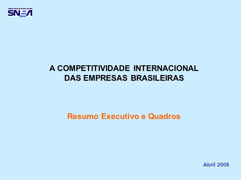 A COMPETITIVIDADE INTERNACIONAL DAS EMPRESAS BRASILEIRAS Resumo Executivo e Quadros Abril 2008