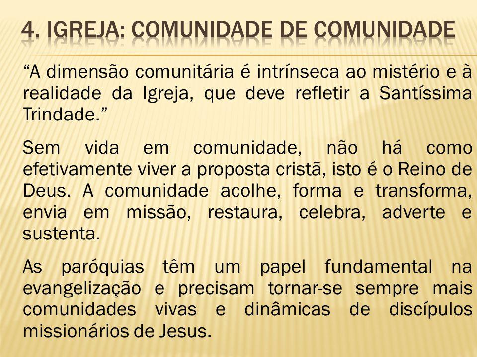 A dimensão comunitária é intrínseca ao mistério e à realidade da Igreja, que deve refletir a Santíssima Trindade. Sem vida em comunidade, não há como