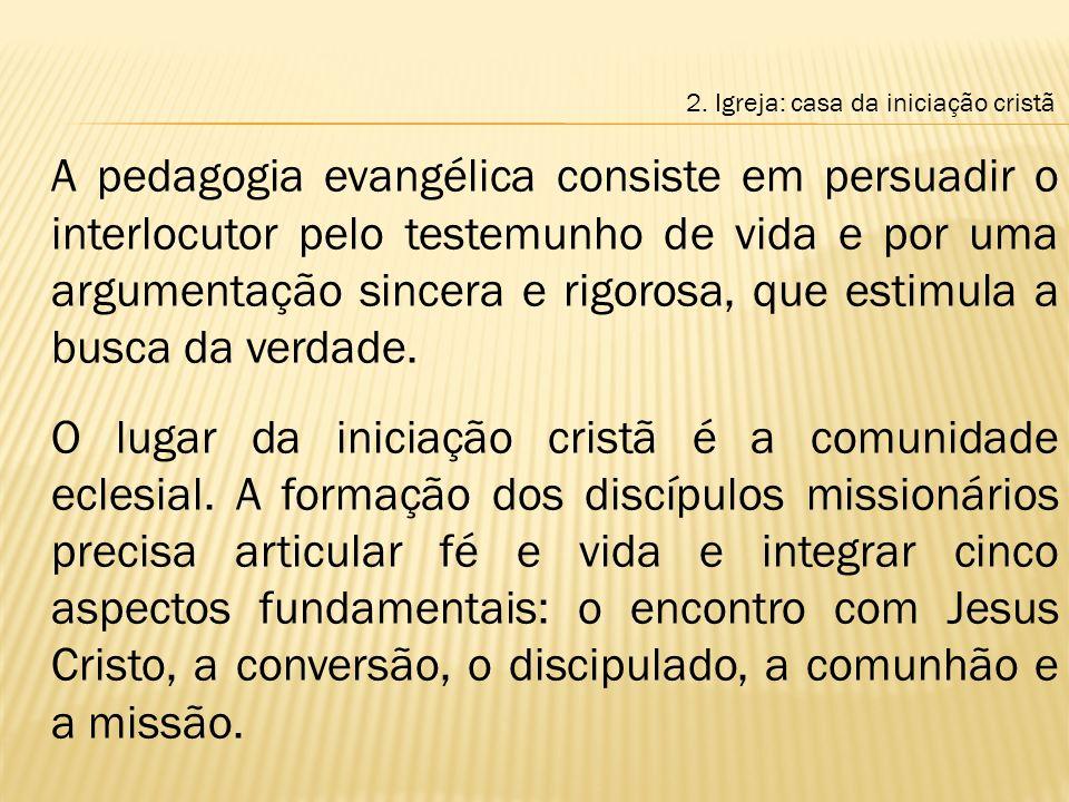 A pedagogia evangélica consiste em persuadir o interlocutor pelo testemunho de vida e por uma argumentação sincera e rigorosa, que estimula a busca da