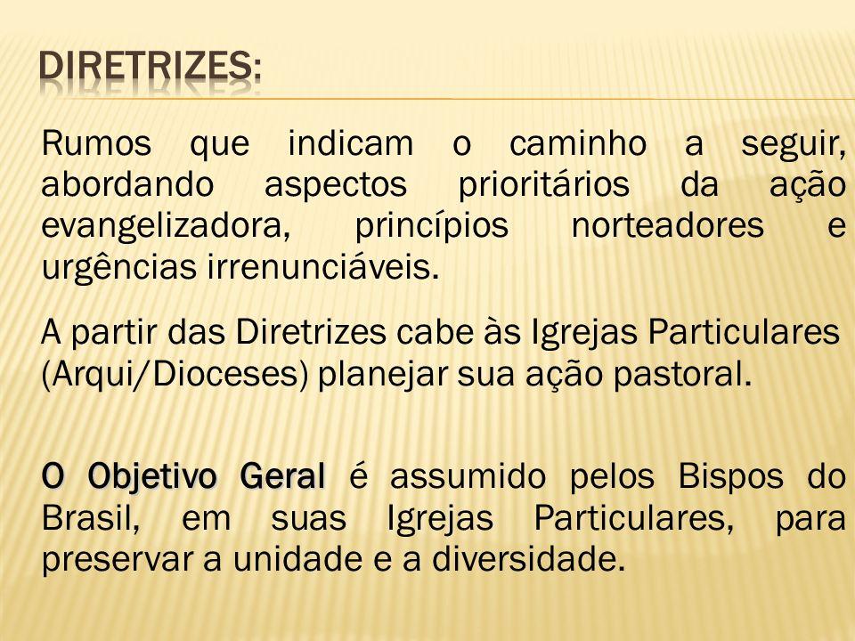 Rumos que indicam o caminho a seguir, abordando aspectos prioritários da ação evangelizadora, princípios norteadores e urgências irrenunciáveis. A par