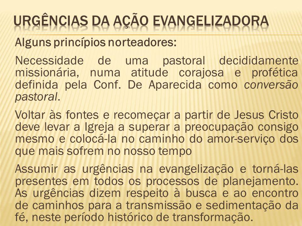 Alguns princípios norteadores: Necessidade de uma pastoral decididamente missionária, numa atitude corajosa e profética definida pela Conf. De Apareci