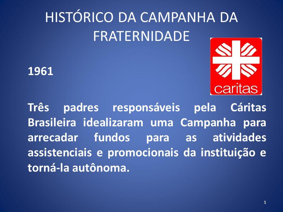 HISTÓRICO DA CAMPANHA DA FRATERNIDADE 1961 Três padres responsáveis pela Cáritas Brasileira idealizaram uma Campanha para arrecadar fundos para as atividades assistenciais e promocionais da instituição e torná-la autônoma.
