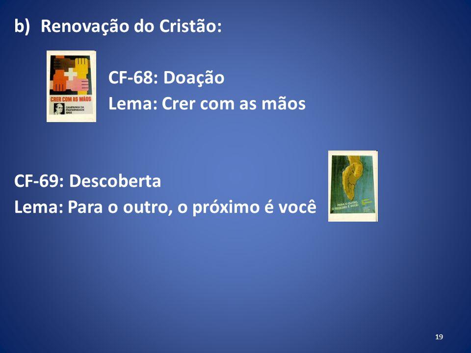 b)Renovação do Cristão: CF-68: Doação Lema: Crer com as mãos CF-69: Descoberta Lema: Para o outro, o próximo é você 19