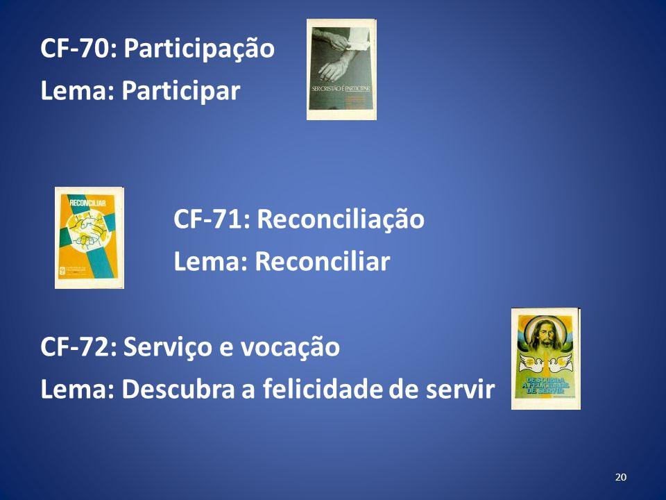 CF-70: Participação Lema: Participar CF-71: Reconciliação Lema: Reconciliar CF-72: Serviço e vocação Lema: Descubra a felicidade de servir 20