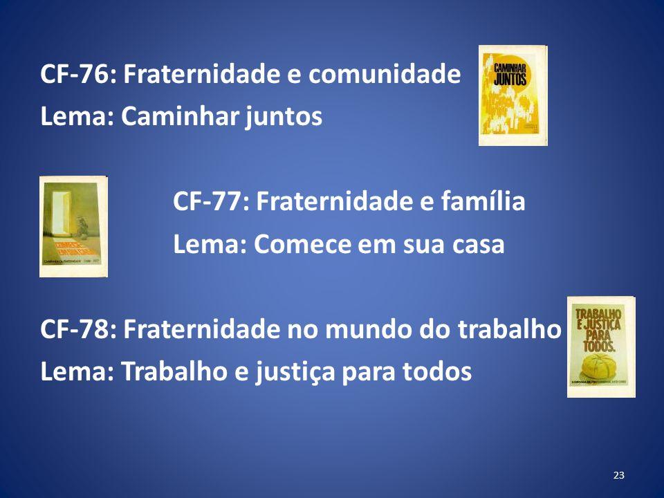 CF-76: Fraternidade e comunidade Lema: Caminhar juntos CF-77: Fraternidade e família Lema: Comece em sua casa CF-78: Fraternidade no mundo do trabalho Lema: Trabalho e justiça para todos 23