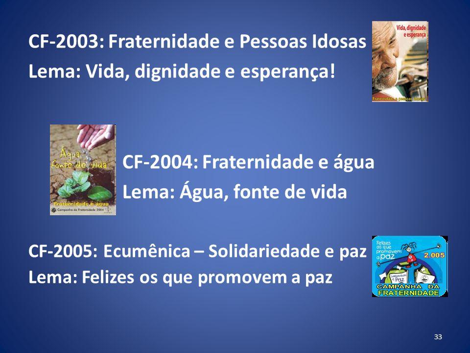 CF-2003: Fraternidade e Pessoas Idosas Lema: Vida, dignidade e esperança.