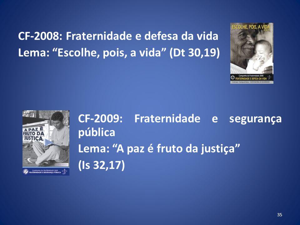 CF-2008: Fraternidade e defesa da vida Lema: Escolhe, pois, a vida (Dt 30,19) CF-2009: Fraternidade e segurança pública Lema: A paz é fruto da justiça (Is 32,17) 35