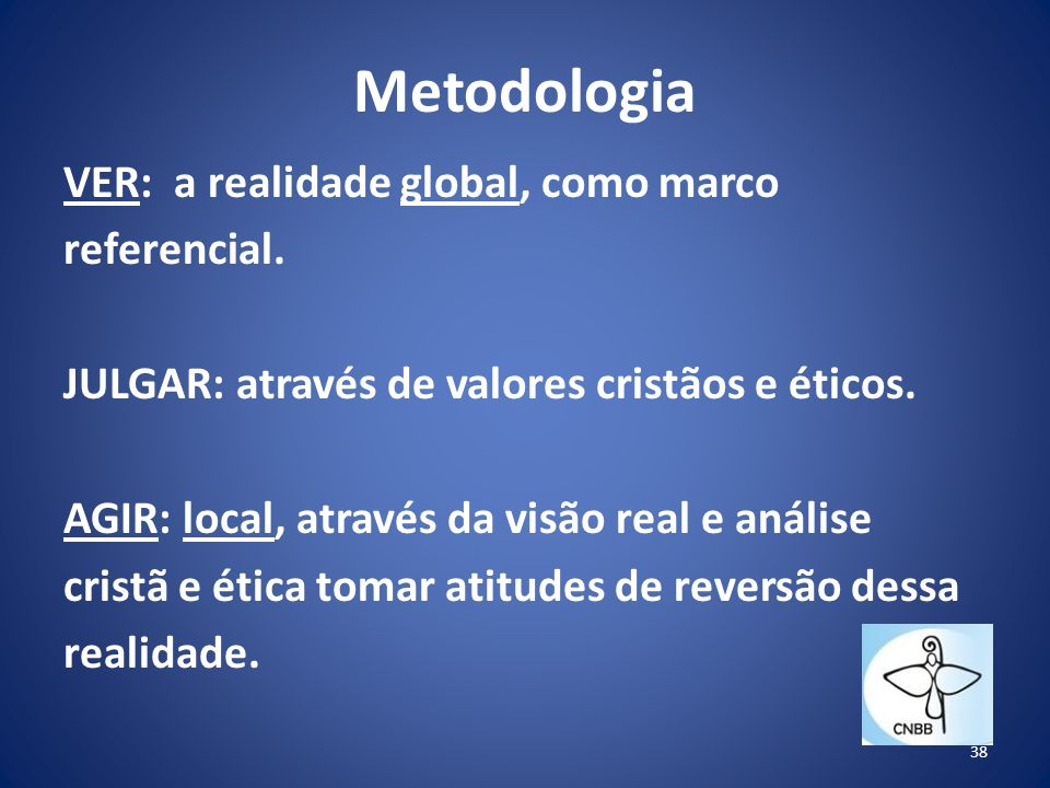 Metodologia VER: a realidade global, como marco referencial.