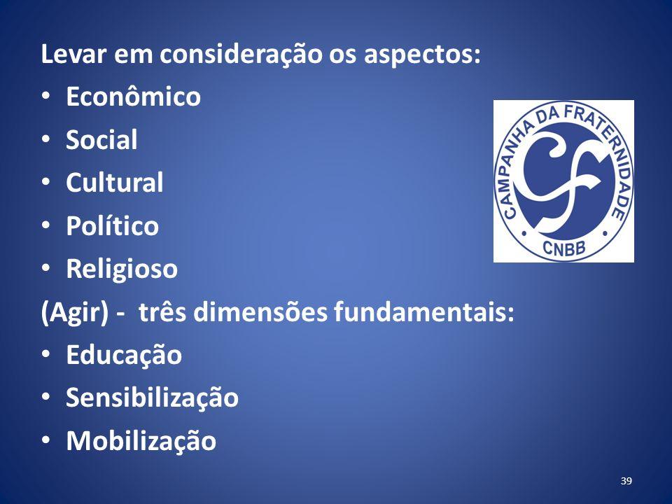 Levar em consideração os aspectos: Econômico Social Cultural Político Religioso (Agir) - três dimensões fundamentais: Educação Sensibilização Mobilização 39