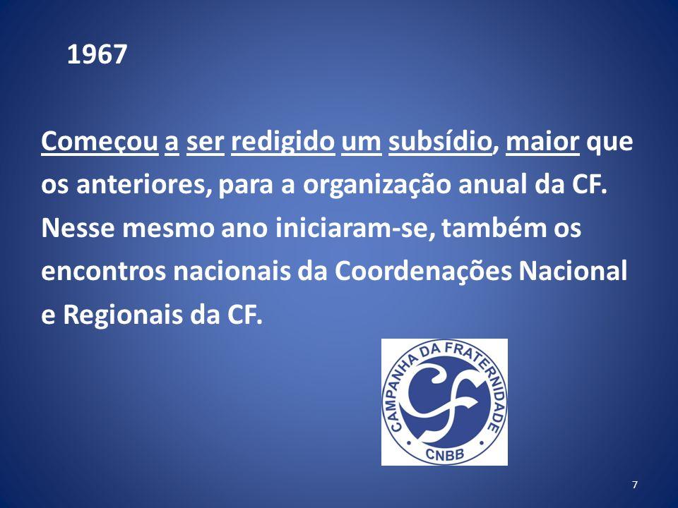 1967 Começou a ser redigido um subsídio, maior que os anteriores, para a organização anual da CF.