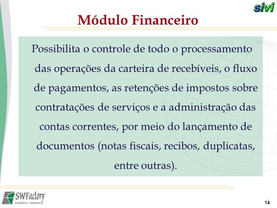 14 Possibilita o controle de todo o processamento das operações da carteira de recebíveis, o fluxo de pagamentos, as retenções de impostos sobre contr