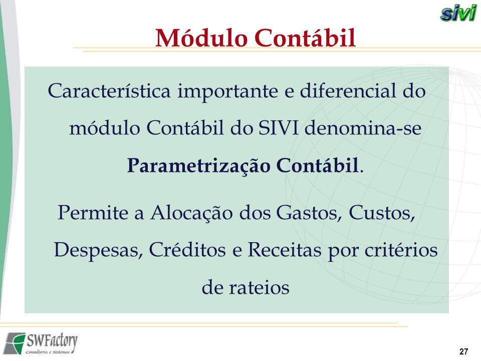 27 Característica importante e diferencial do módulo Contábil do SIVI denomina-se Parametrização Contábil. Permite a Alocação dos Gastos, Custos, Desp