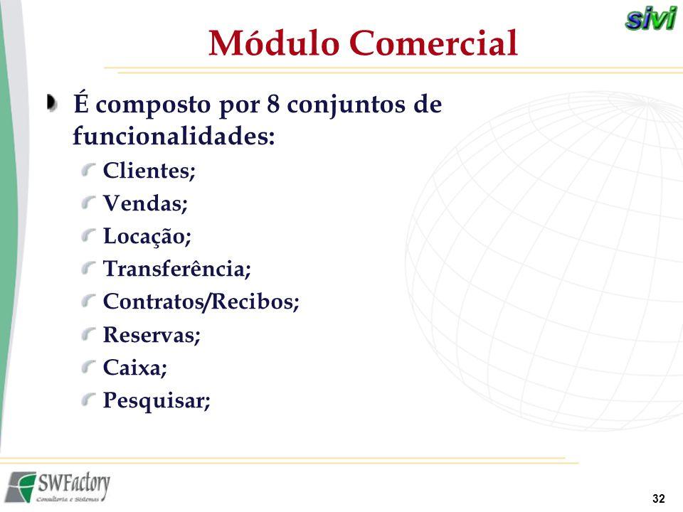 32 É composto por 8 conjuntos de funcionalidades: Clientes; Vendas; Locação; Transferência; Contratos/Recibos; Reservas; Caixa; Pesquisar; Módulo Come