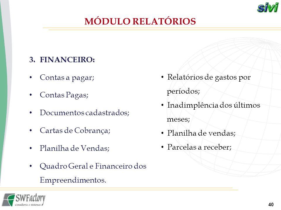 40 3.FINANCEIRO: Contas a pagar; Contas Pagas; Documentos cadastrados; Cartas de Cobrança; Planilha de Vendas; Quadro Geral e Financeiro dos Empreendi