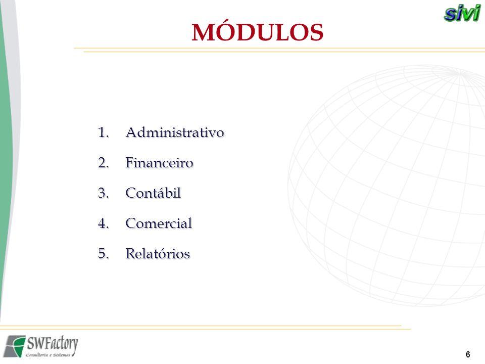 6 1.Administrativo 2.Financeiro 3.Contábil 4.Comercial 5.Relatórios MÓDULOS