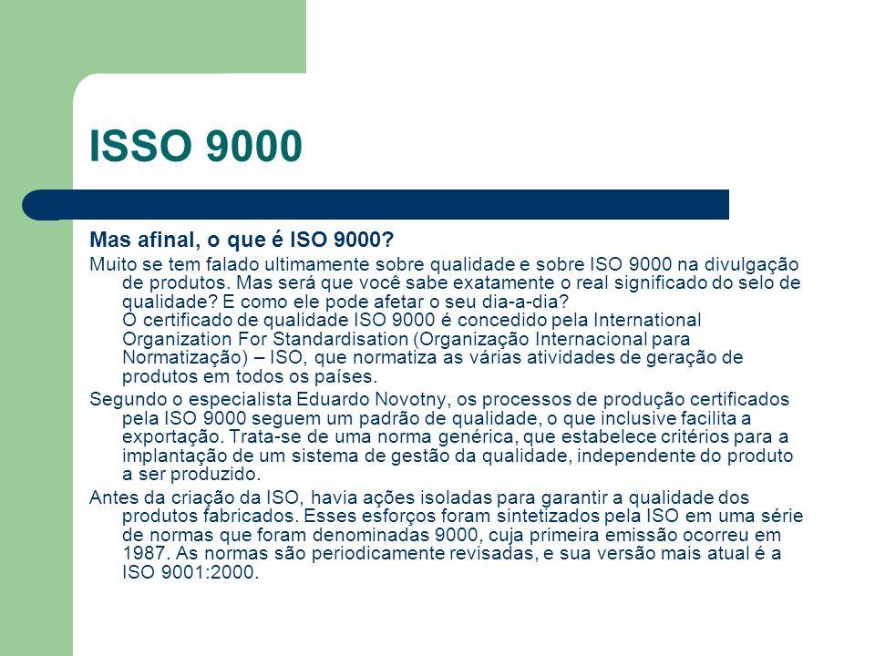 ISSO 9000 Mas afinal, o que é ISO 9000? Muito se tem falado ultimamente sobre qualidade e sobre ISO 9000 na divulgação de produtos. Mas será que você