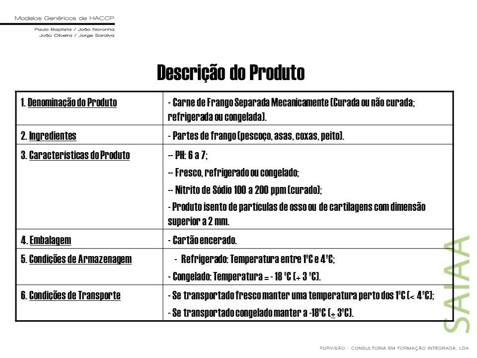 Descrição do Produto 1. Denominação do Produto- Carne de Frango Separada Mecanicamente (Curada ou não curada; refrigerada ou congelada). 2. Ingredient