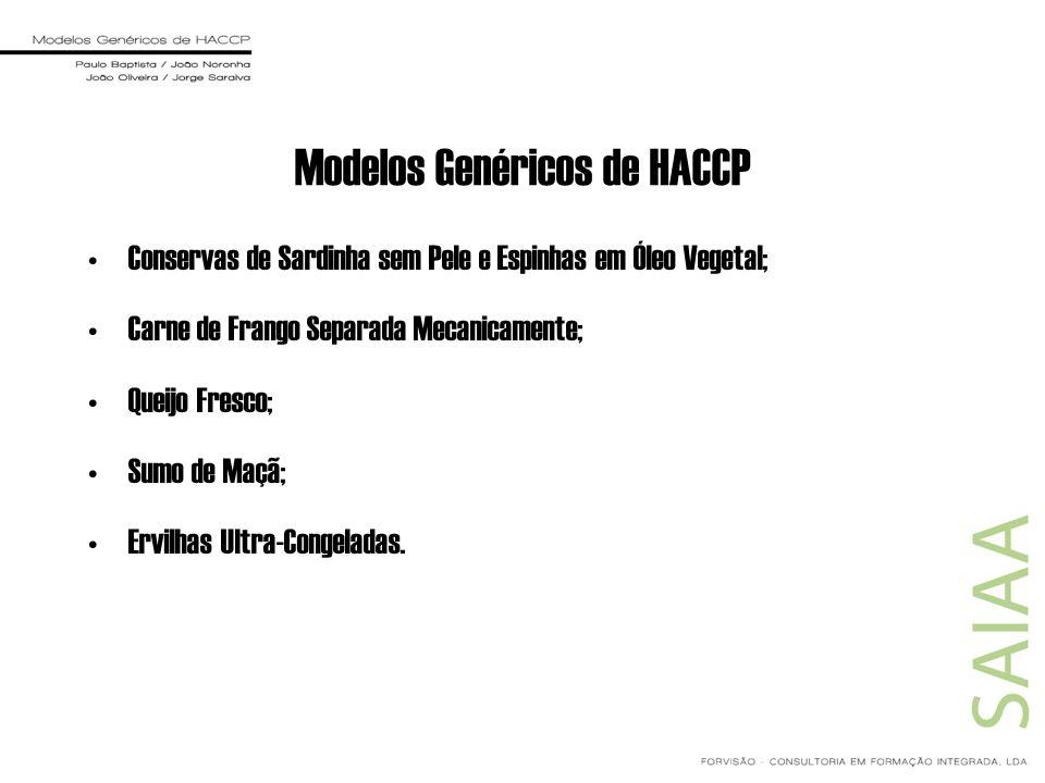 Modelos Genéricos de HACCP Conservas de Sardinha sem Pele e Espinhas em Óleo Vegetal; Carne de Frango Separada Mecanicamente; Queijo Fresco; Sumo de M