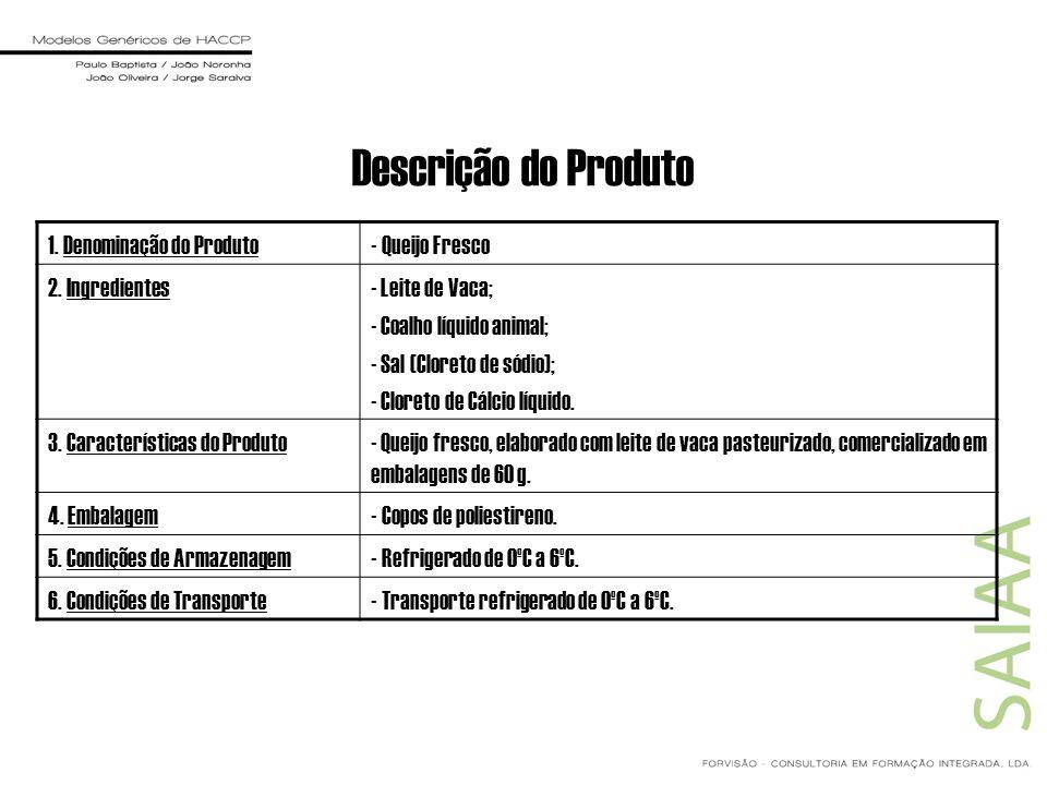 Descrição do Produto 1. Denominação do Produto- Queijo Fresco 2. Ingredientes- Leite de Vaca; - Coalho líquido animal; - Sal (Cloreto de sódio); - Clo