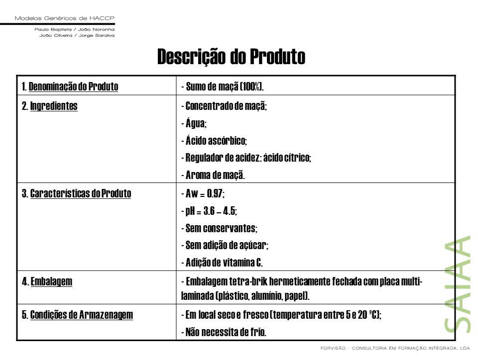 Descrição do Produto 1. Denominação do Produto- Sumo de maçã (100%). 2. Ingredientes- Concentrado de maçã; - Água; - Ácido ascórbico; - Regulador de a