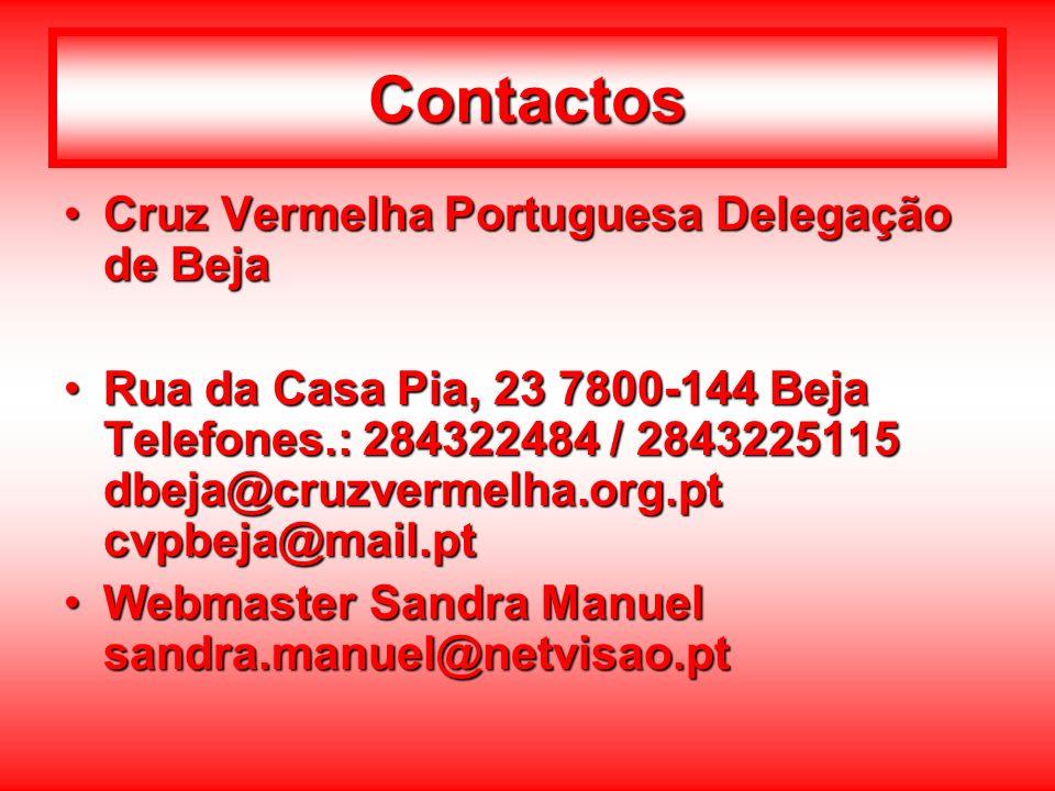 Contactos Cruz Vermelha Portuguesa Delegação de BejaCruz Vermelha Portuguesa Delegação de Beja Rua da Casa Pia, 23 7800-144 Beja Telefones.: 284322484