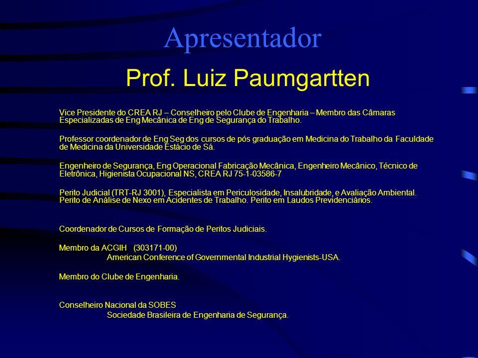 Apresentador Prof. Luiz Paumgartten Vice Presidente do CREA RJ – Conselheiro pelo Clube de Engenharia – Membro das Câmaras Especializadas de Eng Mecân