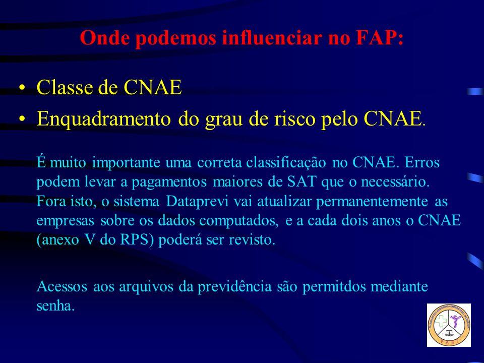 Onde podemos influenciar no FAP: Classe de CNAE Enquadramento do grau de risco pelo CNAE. É muito importante uma correta classificação no CNAE. Erros