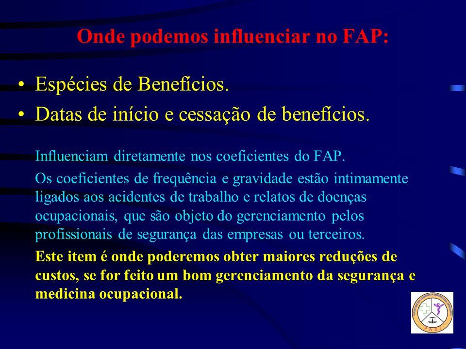 Onde podemos influenciar no FAP: Espécies de Benefícios. Datas de início e cessação de benefícios. Influenciam diretamente nos coeficientes do FAP. Os