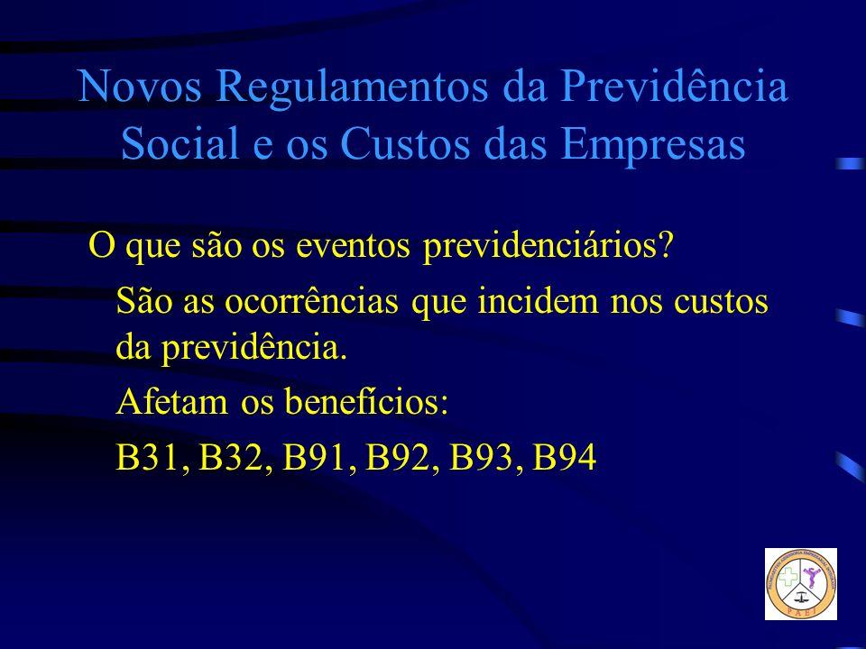 Novos Regulamentos da Previdência Social e os Custos das Empresas O que são os eventos previdenciários? São as ocorrências que incidem nos custos da p