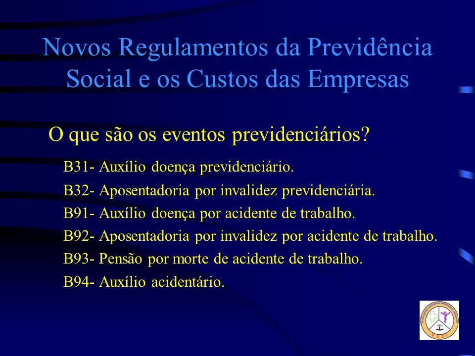 Novos Regulamentos da Previdência Social e os Custos das Empresas O que são os eventos previdenciários? B31- Auxílio doença previdenciário. B32- Apose