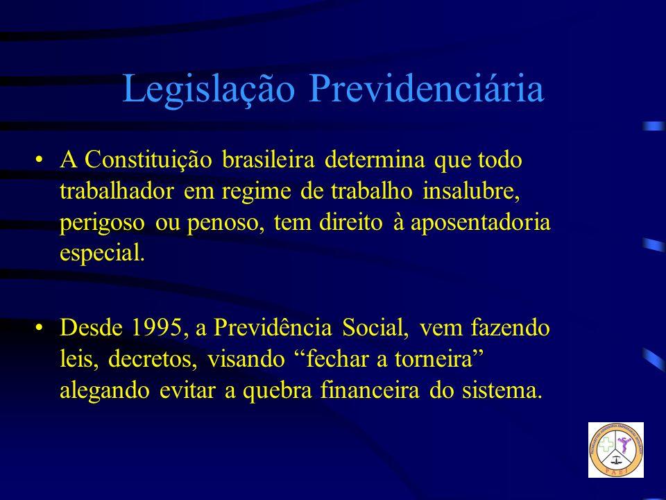 Legislação Previdenciária A Constituição brasileira determina que todo trabalhador em regime de trabalho insalubre, perigoso ou penoso, tem direito à