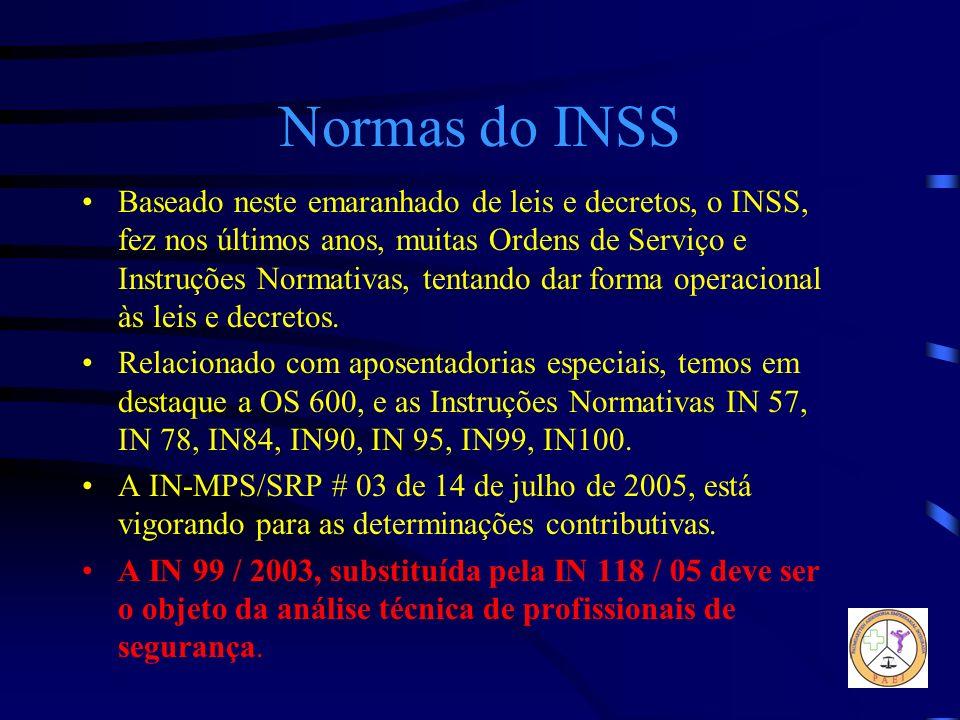 Normas do INSS Baseado neste emaranhado de leis e decretos, o INSS, fez nos últimos anos, muitas Ordens de Serviço e Instruções Normativas, tentando d