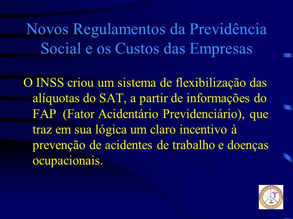 Novos Regulamentos da Previdência Social e os Custos das Empresas O INSS criou um sistema de flexibilização das alíquotas do SAT, a partir de informaç