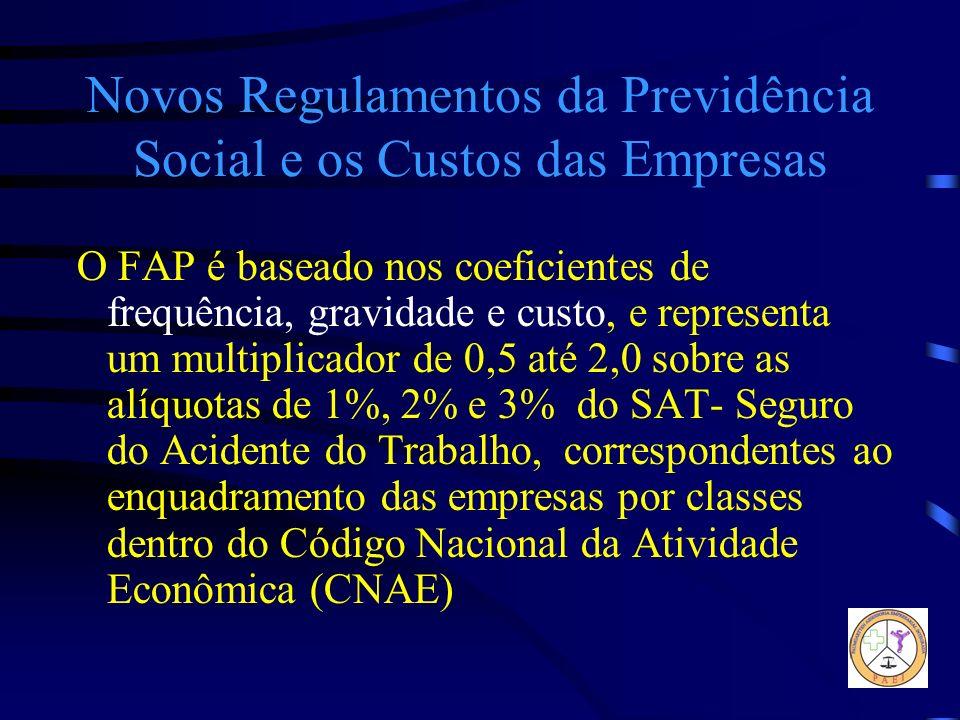 Novos Regulamentos da Previdência Social e os Custos das Empresas O FAP é baseado nos coeficientes de frequência, gravidade e custo, e representa um m