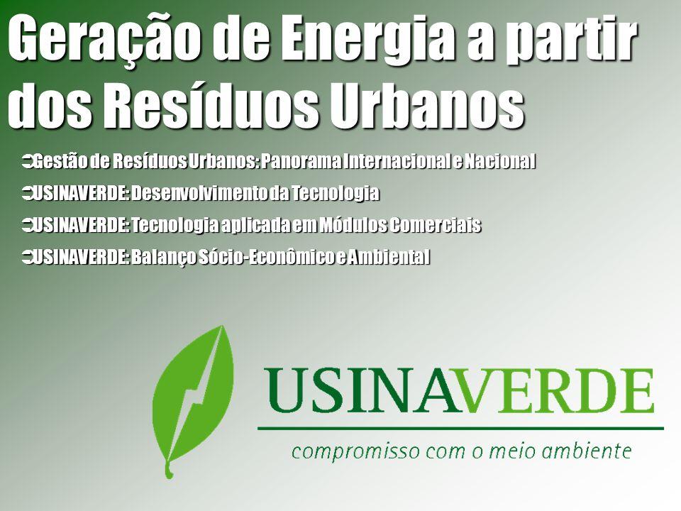 Unidades Modulares Tratamento de Resíduos Urbanos 150 ton/dia - Resíduos Sólidos Urbanos (na Balança) (população geradora de resíduos: +/- 187 mil pessoas) Geração de Energia Geração Efetiva: 3,2 MW Energia Exportável : 2,6 MW Prazo de Implantação: 24 meses