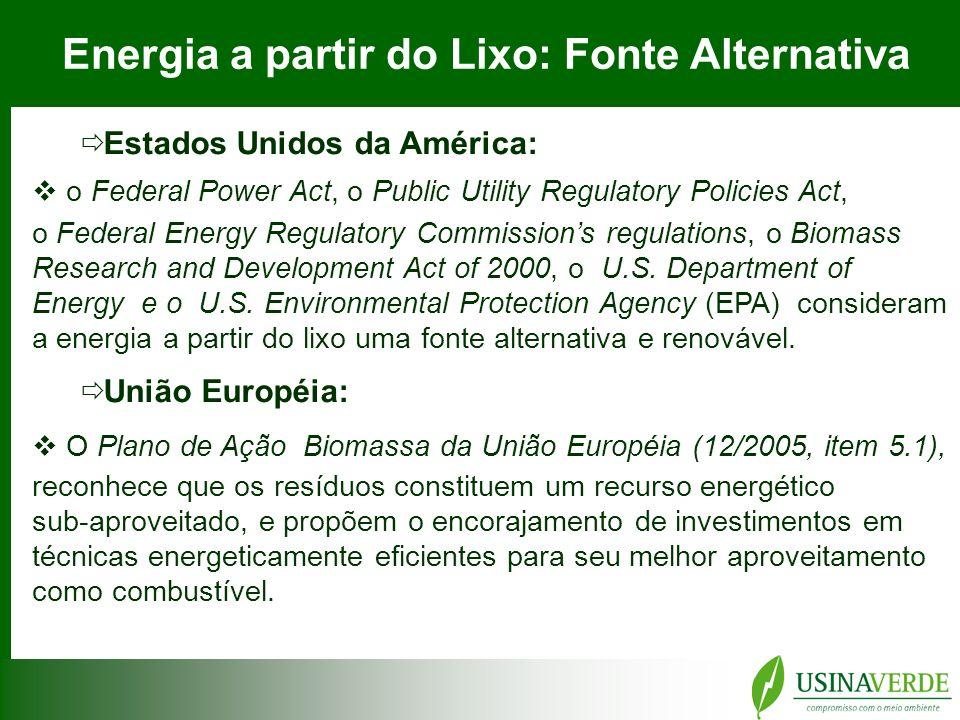Energia a partir do Lixo Tecnologias de aproveitamento do lixo como combustível BIOGÁS DE ATERRO (base metano) 0,1 - 0,2 MWh /t DIGESTÃO ANAERÓBICA ACELERADA 0,1 - 0,3 MWh /t INCINERAÇÃO RSU com Geração de Energia 0,4 - 0,6 MWh /t CICLO COMBINADO (RSU + Gás Natural) 0,8 - 0,9 MWh /t Fonte.: IVIG – Instituto Virtual de Mudanças Climáticas